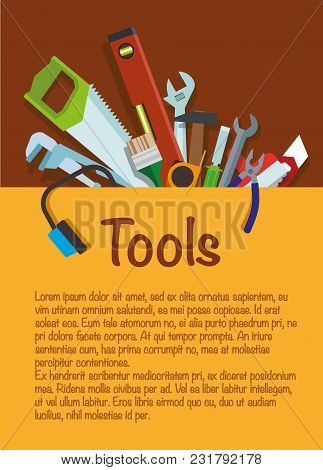 Tools. Tool Set Repair And Construction. Hammer, Wrench, Pliers, Cutter, Level Tool, Spatula, Saw, B
