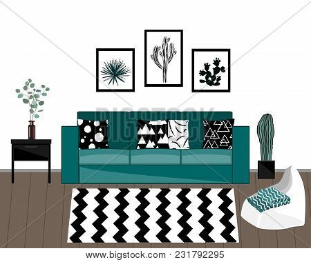 Scandinavian Style Livingroom Interior With Black And White Carpet, Blue Sofa With Ornamented Pillow