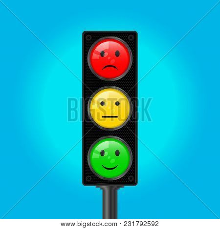 Traffic Light Pole, Vector Illustration. Blue Sky Background. Red, Yellow And Green Lights. Sad Smil