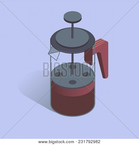 Vector Illustration With 3d Coffee Pot French Press. Coffee Maker In Isometric Flat Style On Blue Ba