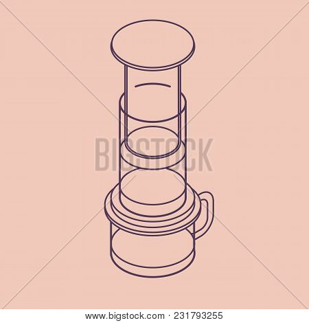 Vector Illustration Thin Line Sketch With 3d Coffee Aeropress. Coffee Maker In Isometric Flat Style