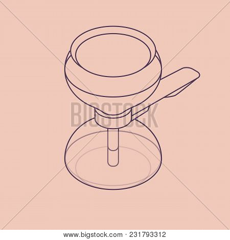 Vector Illustration Thin Line Sketch With 3d Vacuum Coffee Maker In Isometric Flat Style On Blue Bac