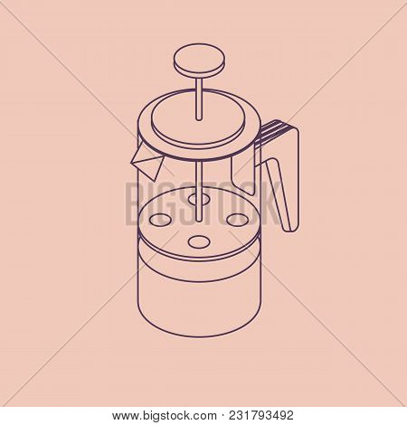 Vector Illustration Thin Line Sketch With 3d Coffee Pot French Press. Coffee Maker In Isometric Flat
