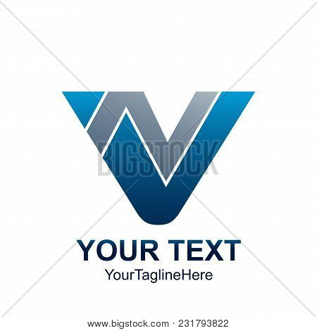 Initial Letter Vn Or Nv Logo Template Colored Grey Blue Triangle Design For Business And Company Ide