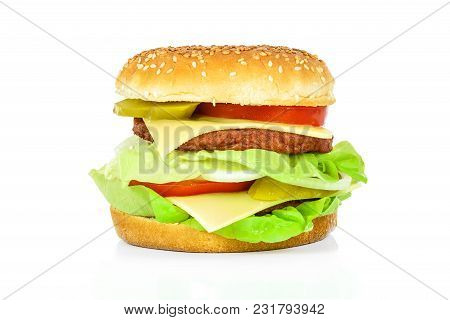 Tasty Hamburger, Beef Burger In Close-up And Isolated On White Background.