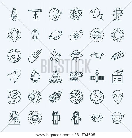 Line Space Icons. Vector Set Of Thin Outline Universe Symbols.