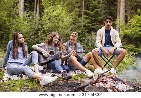 Group Of Teenagers Camping In Forest, Sitting By The Open Fire, Girl Playing Guitar.