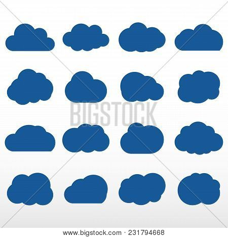Set Of Blue Clouds. Cloud Storage Over The Internet, And Weather Application. Vector Icon.