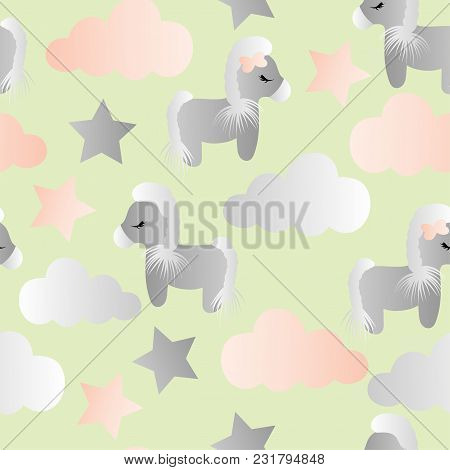 Seamless Pattern With A Cartoon Cute Toy Pony, Clouds And Stars On A Green Background