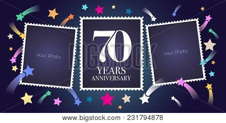 70 Years Anniversary Vector Emblem, Logo. Template Design, Greeting Card With Photo Frame Collage On