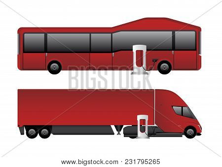 Set Of Electric Vehicles. Bus And Truck Are Charging From Charging Stations. Vector Illustration Eps