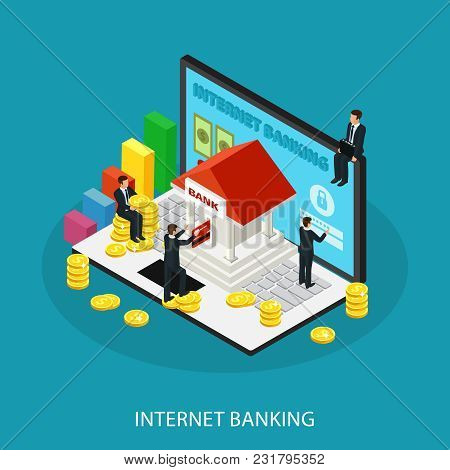 Isometric Internet Banking Service Concept With Businessmen Building Gold Coins Card And Graphs On L