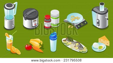 Isometric Healthy Lifestyle Elements Set With Blender Slow Cooker Vitamins Scales Juicer Vegetables