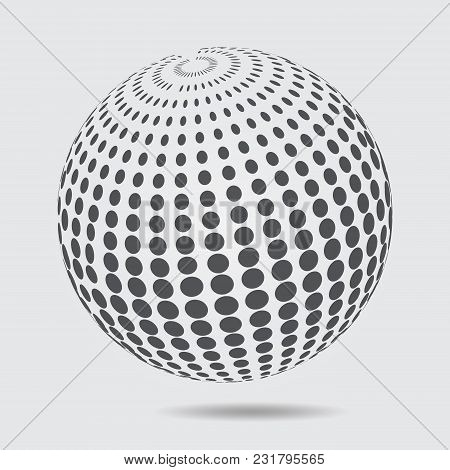 3d Sphere Logo Halftone Pattern. Circle Dotted Design Element Isolated On White Background. Vector I
