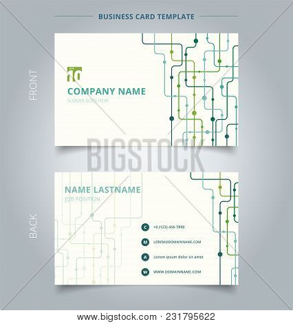 Creative Business Card And Name Card Template Technology Background Green Color Curved Lines, Dots.