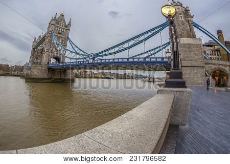 London, England - November 27, 2017: Fish Eye View Architecture From Tower Bridge And London Over Ri