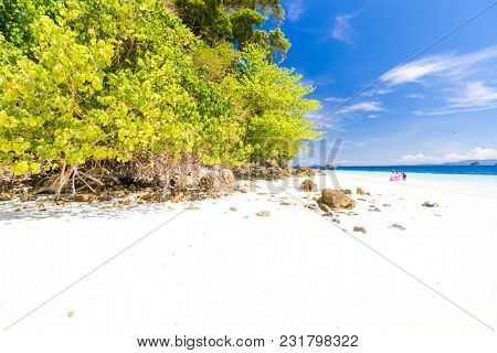 Tropical white sand beach at snoekel point from speed boat at andaman sea indian ocean Myanmar and Thailand.