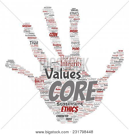 Conceptual core values integrity ethics hand print stamp concept word cloud isolated background. Collage of honesty quality trust, statement, character, perseverance, respect and trustworthy