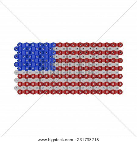 Usa, United States Or American Flag Made Of Vector Bike Or Bicycle Chain. Realistic Detailed Bike Ch