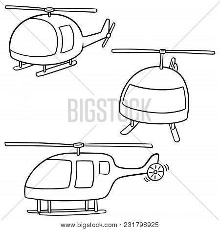 Vector Set Of Helicopter Hand Drawn Cartoon