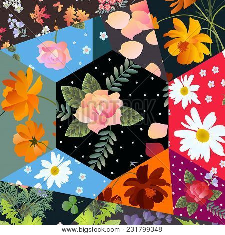 Floral Patchwork Pattern With Roses, Cosmos And Bell Flowers, Daisies And Leaves.