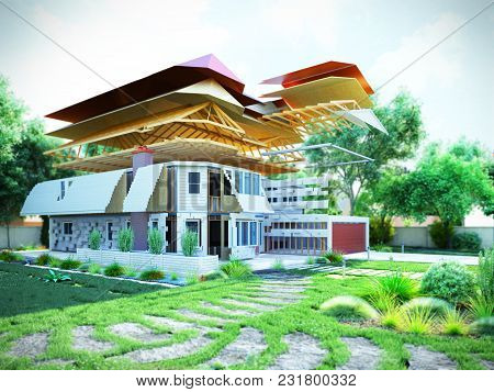 Modern Concept Of Construction Works The House Is Assembled By Parts On The Land 3d Render Image