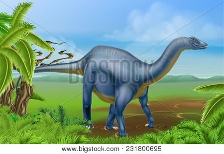 An Illustration Of A Diplodocus Dinosaur From The Sauropod Family Like Brachiosaurus And Other Long