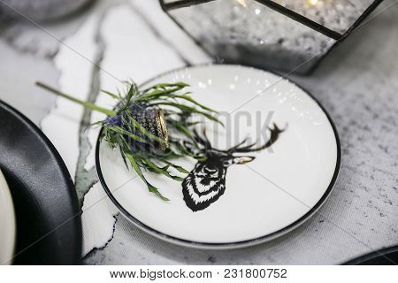 Wedding Decorations. Black Decor.wedding Rings In A Saucer