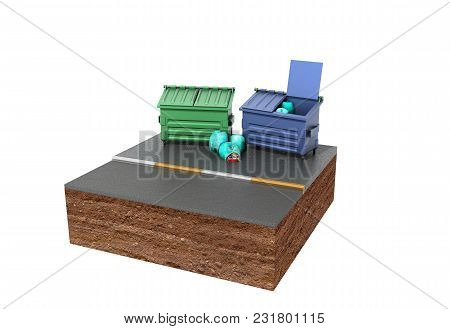 Garbage Cans On A Piece Of Land 3d Render On White No Shadow