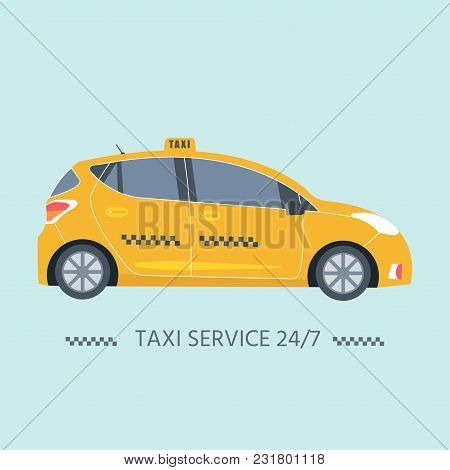 Icon With Machine Yellow Cab. Public Taxi Service Concept. Isolated On The Background. Flat Vector I