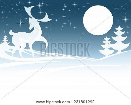 Stylised Illustration Of Christmas Winter Scene With A Stag Male Deer And Full Moon In Snow With Chr