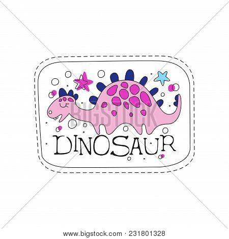 Dinosaur Patch Badge, Cute Cartoon Pink Animal Sticker Hand Drawn Vector Illustration Isolated On A
