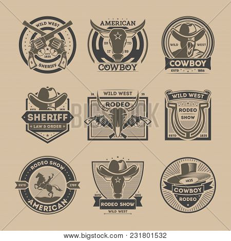 Cowboy Vintage Label Set Isolated Vector Illustration. American Rodeo Show Badge And Wild West Sheri