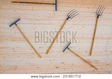 Forks And Rakes Hanging On Wooden Wall