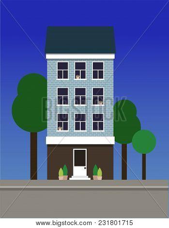 A Multi-storey Narrow Dwelling House Made Of Blue Bricks. Vector Illustration.