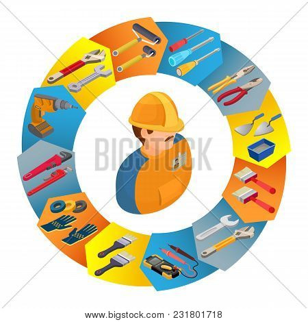 Builder In Uniform, Professional Tools. Worker, Equipment And Items Isometric Icons In Circle Shape.