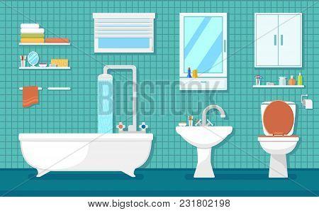 Furnishing Bathroom Interior With Bath Washbasin And Toilet