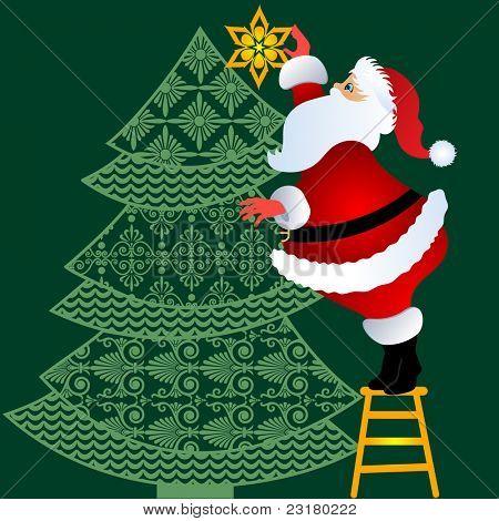 Christmas design Santa on stool decorating folkart tree