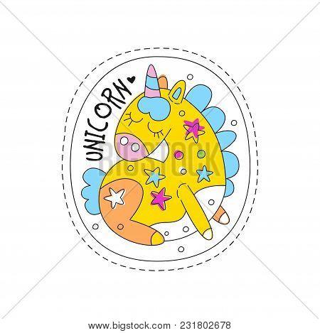 Sweet Unicorn With Closed Eyes Childish Patch Badge, Cute Cartoon Yellow Animal Sticker Hand Drawn V