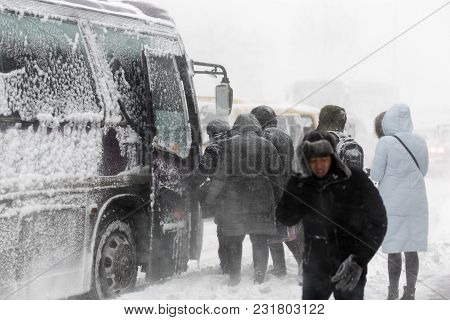 Petropavlovsk City, Kamchatka Peninsula, Russia - December 26, 2017: Winter City Life During Snowsto