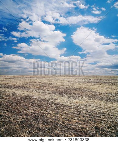 Arable Field Against The Sky With Clouds