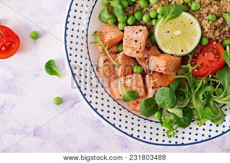 Healthy Dinner. Slices Of Grilled Salmon, Quinoa, Green Peas, Tomato, Lime And Lettuce Leaves. Flat