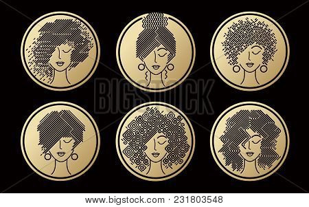 Set Of Women's Hairstyles Gold Icons.