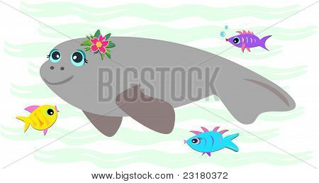 Peaceful Manatee with Friendly Fish