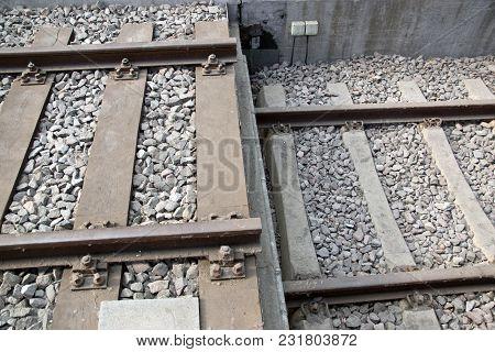 Closeup Railroad Train Rails And Rail Transport