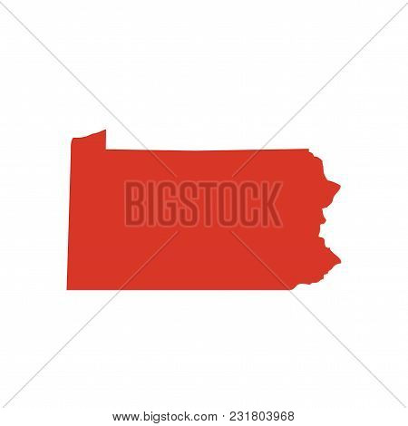 Commonwealth Of Pennsylvania Vector Map Silhouette. Penn, Also Called Pa State Shape Icon. Outline C