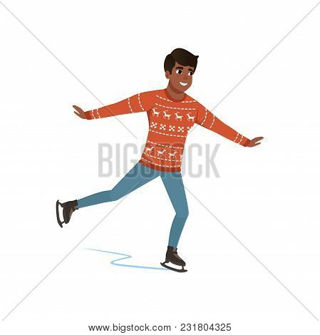 Young African American Man Ice Skating Vector Illustration Isolated On A White Background.