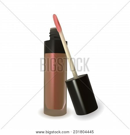 Nude Lip Gloss On White Background. Accessory For Make-up. Decorative Cosmetic. Vector Illustration.