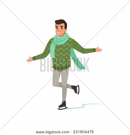 Cheerful Young Man In Green Sweater And Scarf Ice Skating Vector Illustration Isolated On A White Ba