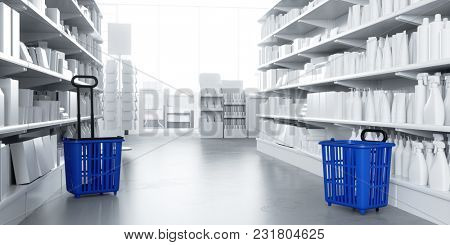 Aisle in the supermarket with many white products on the shelf (3D Rendering)